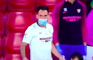 Lucas Ocampos was sporting a face mask on the sidelines