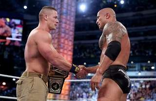 Cena and Rock met at back-to-back WrestleMania events