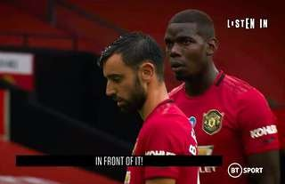 Bruno Fernandes and Paul Posa line up a free-kick for Man Utd