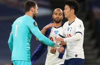 Lloris and Son embraced each other after bust-up during Tottenham vs Everton.
