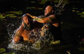 The main event of Extreme Rules was a Swamp Fight