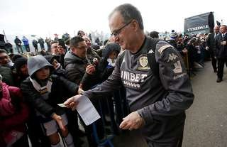 Marcelo Bielsa and supporters at Elland Road