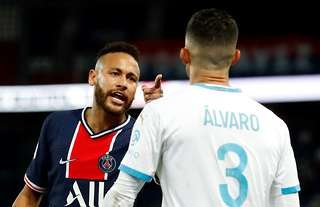 Neymar was involved in an exchange with a Marseille player
