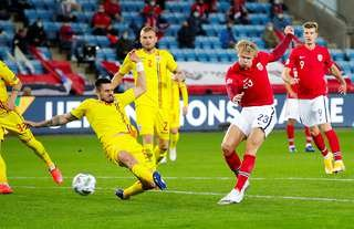 Erling Haaland in action for Norway vs Romania