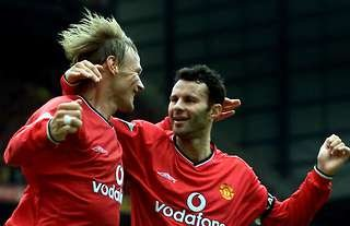 Teddy Sheringham and Ryan Giggs