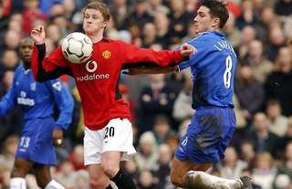 Frank Lampard and Ole Gunnar Solskjaer in action for Man United and Chelsea