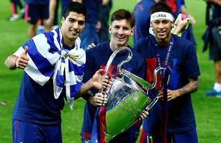Luis Suarez, Lionel Messi & Neymar won the Champions League with Barcelona in 2014/15