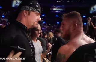 Undertaker and Lesnar went face-to-face at UFC 121 in 2010