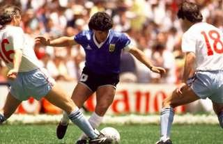 Diego Maradona scored twice against England at the 1986 World Cup