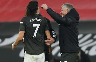 Edinson Cavani and Ole Gunnar Solskjaer after Southampton 2-3 Man United