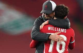 Neco Williams and Jurgen Klopp