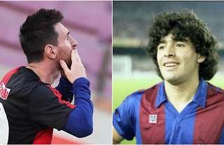 Lionel Messi and Diego Maradona Barcelona