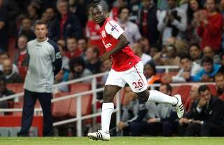Emmanuel Frimpong comes on from the bench for Arsenal