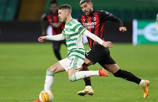 Celtic's Ryan Christie in Europa League action against AC Milan