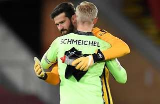 Alisson Becker and Kasper Schmeichel