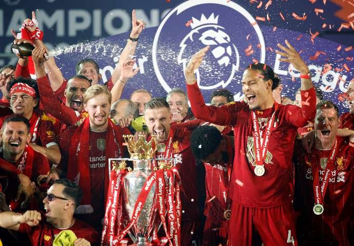 Liverpool with the PL trophy