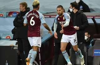 Aston Villa's Conor Hourihane is subbed on for Douglas Luiz