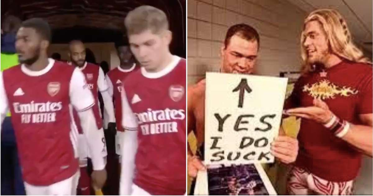 Kurt Angle reacts to Arsenal walking out to his entrance music during Palace draw