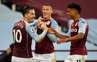 Aston Villa's Jack Grealish, Ross Barkley and Ollie Watkins