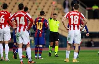 Messi picked up his first Barcelona red card vs Athletic Bilbao.