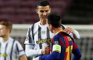 Juventus' Ronaldo greets Barcelona's Messi at Camp Nou.