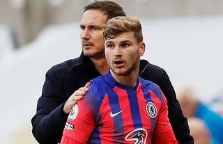 Chelsea boss Lampard with Werner in the Premier League.