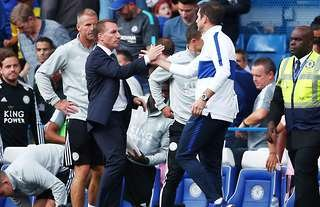 Frank Lampard shakes hands with Brendan Rodgers