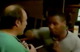 Mike Tyson demonstrates his punching power in close quarters with Jimmy Greaves