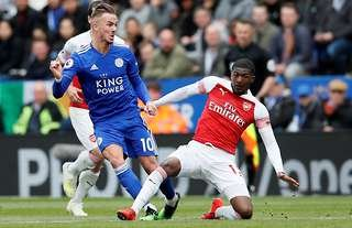 Ainsley Maitland-Niles in action vs Leicester