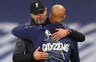 Klopp and Guardiola after a Man City vs Liverpool clash.