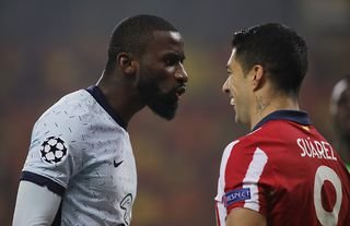 Antonio Rudiger was not happy with Luis Suarez