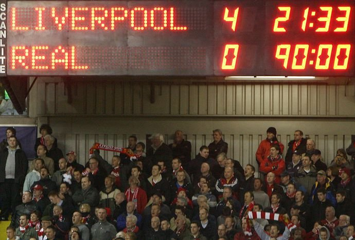 The scoreboard at Anfield
