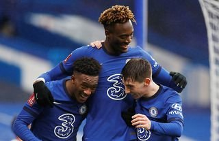 Tammy Abraham celebrates with his teammates