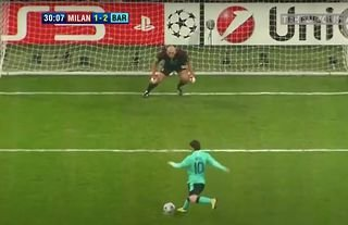 Barcelona's Messi took an illegal Champions League penalty.