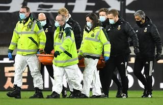 Wolves' Patricio was carried off injured vs Liverpool.