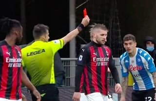 AC Milan's Ante Rebic was shown a straight red card vs Napoli