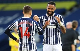 West Brom defender Kyle Bartley with his teammate