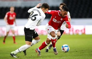 Bristol City winger Antoine Semenyo in action