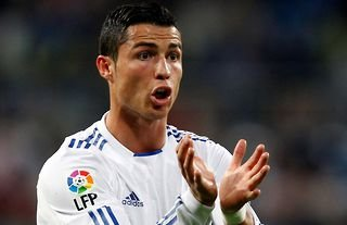 Cristiano Ronaldo will do anything he can to score a goal...