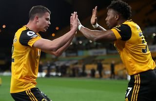Traore celebrates Wolves scoring in the West Ham defeat.