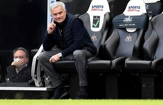 Jose Mourinho in the dugout at Newcastle