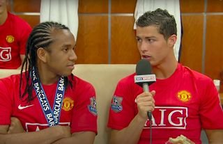 Cristiano Ronaldo interviewed Anderson after Man Utd's title win in 2009