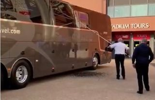 A window on Real Madrid's coach was smashed before the Liverpool game