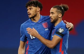 Tyrone Mings and Dominic Calvert-Lewin in action for England
