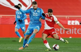 Marseille defender and former Liverpool target Duje Caleta-Car applies pressure