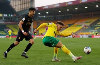 Norwich defender and West Ham target Max Aarons in action against Watford