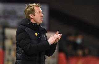 Brighton manager Graham Potter encouraging his side against Manchester United
