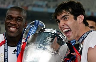 Kaka with the Champions League trophy