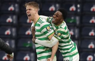 Kristoffer Ajer celebrating with his Celtic teammate
