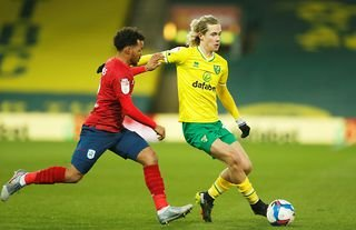 Norwich winger and Aston Villa target Todd Cantwell in action